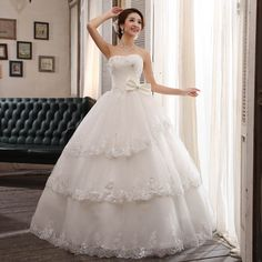 Ball gown line wedding dress ~~~ Vestido de Novia - Estilo ~~~ Elegant Dresses, Formal Dresses, Wedding Dresses, Diamond Decorations, Tube Top Dress, One Shoulder Wedding Dress, Ball Gowns, Princess, Shopping