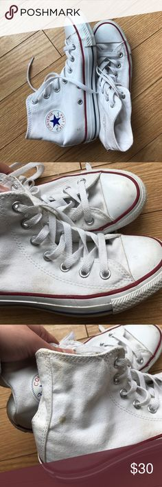 White converse Only worn a handful of times but are a little dirty as shown in the pictures, but they can be cleaned! Still good condition! Converse Shoes Sneakers