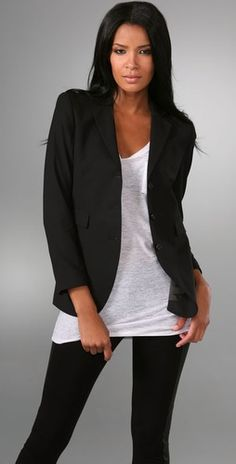 blazer.. oversized white tee with skinny black pants.. add some cognac boots and some accessories and you've got yourself one cute outfit.