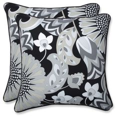 Outdoor/Indoor Sophia Graphite Throw Pillow Set of 2 - Pillow Perfect, Black