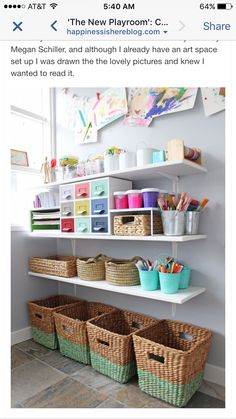 Love this wall of art supplies! So organized and pretty. Perfect for your kids' playroom. Love this wall of art supplies! So organized and pretty. Perfect for your kids' playroom. Kids Art Area, Kids Art Space, Kids Art Corner, Craft Corner, Kids Art Rooms, Playroom Organization, Playroom Ideas, Organizing Art Supplies, Organising
