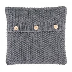 Large Knitted Grey Cushion
