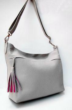 "BERLIN. Oversize Tote / Shoulder Bag / Cross Body Bag / Laptop Bag (13""). Premium Selection Ice Gray Italian Napa Leather. HANDMADE.UNIQUE"
