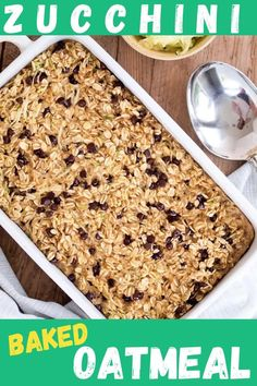 This Zucchini Chocolate Chip Baked oatmeal is delicious and super easy to make! It's nutritious and the whole family loves this healthy, gluten-free, dairy-free breakfast recipe idea!