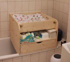 Wickelaufsatz für Badewanne mit Schublade und Ablage oben (BAS) – Möbel Alternative