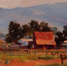 """Daily Paintworks - """"Red Barn  mini, landscape painting by Robin Weiss"""" - Original Fine Art for Sale - © Robin Weiss"""