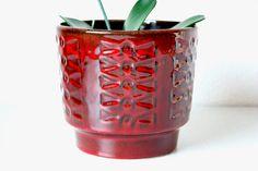 #Planter #ceramic #flowerpot  #red #brown #60s #70s #wohnraumformer #westgermanpottery #wgp