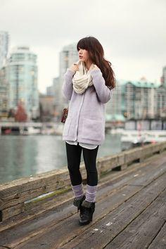 long sweaters to wear with leggings | long sweater with leggings, scrunched socks...so cozy | el estilo