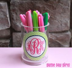 Cute with the Lilly Highlighters :) Monogrammed Pen/Cup  Chevron by GameDayGirlsandGifts on Etsy, $14.00