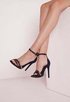 3 Strap Vamp Barely There Heeled Sandals Navy
