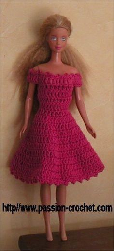 Robe au crochet pour poupée Barbie