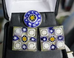 Cuff Links for Men-  Cufflinks and Tie Pin Set- Handmade- Created with Italian Glass Millefiori- https://www.etsy.com/listing/153623908/cuff-links-for-men-cufflinks-and-tie-pin?ref=shop_home_active