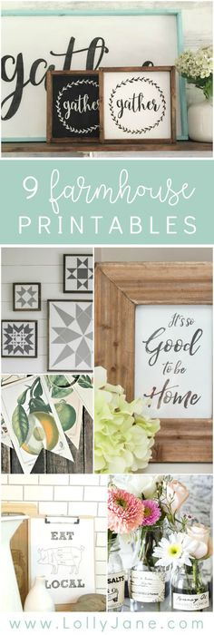 Best Ideas For Diy Crafts : 9 darling farmhouse printables. Love this variety of farmhouse printables to coz.