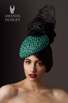 For Sale. Anuket Exquisite emerald green embroidered beret with hand sculptured black silk roses with beaded stamens. From the Egyptian Geometric collection. Contact www.amandadudley.net for bespoke millinery orders.