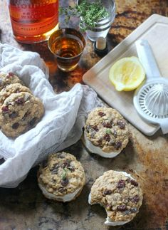 Bourbon and Thyme Oatmeal Raisin Cookies