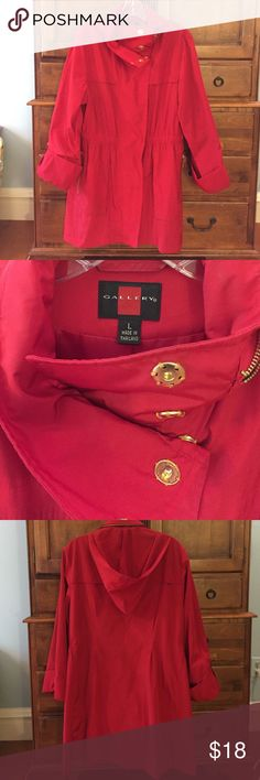 NWOT Red Rain Coat Rain is expected this fall, this red raincoat is just what you need! Super light weight, with hood.  Hood does zip closed if you want to wear it casually!  Gold buttons and zipper pockets! Clinched waste band to become more figure fitted! Gallery Jackets & Coats Trench Coats