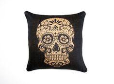 Sugar Skull Burlap Pillow Cover, Day of the Dead, Dia de los Muertos, Black, Biege,16x16. $46.00, via Etsy.
