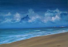 The Brighton beach. Far away  the pier of Brighton beach. Original contemporary oil on canvas by Nella Alao