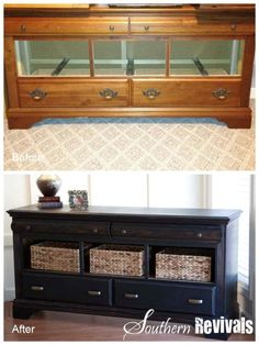 A dresser with missing drawers can be converted into a beautiful side table. Add baskets in where the drawers are missing and give it a great look and lots of storage space.