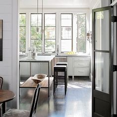 Steel windows and doors - what I've learned - Lindsay Hill Interiors Kitchen Interior, New Kitchen, Kitchen Dining, Kitchen Decor, Kitchen Island, Island Table, Dining Area, Island Stools, Kitchen Stools