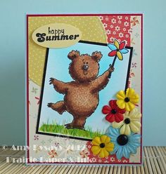 Summer Card 4 by AmyR...fun technique on bear. Add drops of alcohol blending solution onto old washcloth, and blot gently over colored image to give bear some texture.