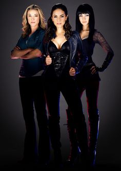 Lost Girl Cast / the use of black and leather in this show is awesome. I also admire the makeup artist, no clue who it is, but the girls always look so good.