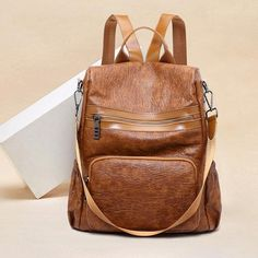 350ee7bbaa9 Women Soft Leather Anti-theft Multi-function Backpack