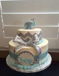 Elephant Chevon theme Happy Birthday Cake