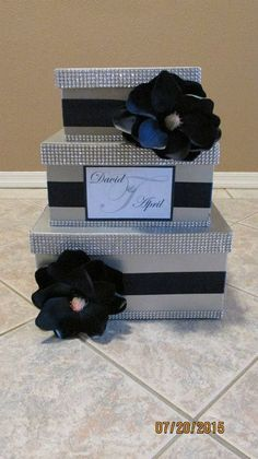 Silver and Navy Blue 3 Tiered Wedding/Birthday Anniversary Shower Party Card Box Colorful Flowers, Silk Flowers, Card Box Wedding, Wedding Ideas, Wedding Stuff, Wedding Decorations, Blue And Silver, Navy Blue, Fancy Party