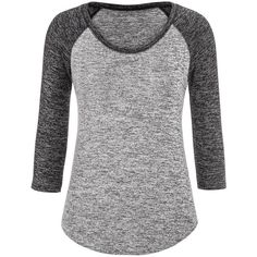 maurices Baseball Tee With 3/4 Length Sleeves ($26) ❤ liked on Polyvore featuring tops, t-shirts, shirts, black, black t shirt, baseball tee, stretch t shirt, t shirts and black shirt