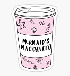 Mermaids Macchiato Coffee ♡ Trendy/Hipster/Tumblr Meme Pegatina