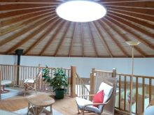 sky-light of round eco house in Charente
