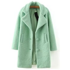 SheIn(sheinside) Green Lapel Single Breasted Woolen Coat ($58) ❤ liked on Polyvore featuring outerwear, coats, jackets, green, green wool coat, green coat, long coat, lapel coat and long sleeve coat