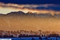 sun rises over Mt. Giewont (alias Sleeping Knight) in Tatra Mountains, Poland. picture taken from Banska Wyzna.