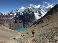 """View from Santa Maria Pass - just over 5000 metres, now for the descent. The glacier to the left [yerapaja] is where we go tomorrow for our """"touching the void"""" day hike!"""