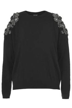 Topshop Cut out embellished jumper