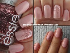Base: OPI - Natural Nail Base Coat Main: OPI - Sweet Heart Glitter: Essie - A Cut Above Top: Seche Vite