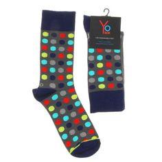 Yo Sox Mens Crew Polka Navy - Sugarloaf Navy Shop, Unusual Gifts, Socks, Men, Shopping, Fashion, Moda, Fashion Styles, Sock