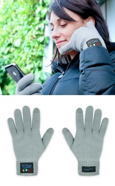 Gloves with bluetooth built in; the speaker is in the thumb, and the mic in the pinky.
