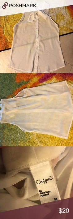 American Apparel Chiffon Tank American Apparel Chiffon, off-white tank top with neck tie. Can wear in a bow or hanging down! Perfect condition. American Apparel Tops Blouses