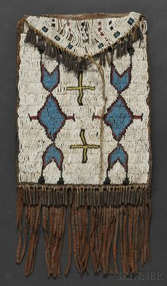 CHEYENNE BEADED COMMERCIAL LEATHER DISPATCH BAG, C. LAST QUARTER 19TH CENTURY, BEADED ON THE FRONT WITH GEOMETRIC AND CROSS DEVICES ON - Skinner Inc