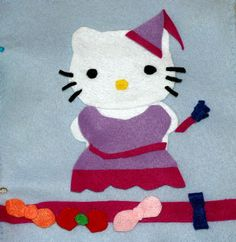 Quiet book idea: Felt Hello kitty with bows and dresses.