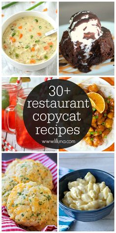 A roundup of 30+ copycat recipes that come from some of your favorite restaurants!! Now you can make these yummy recipes at home! See them on { lilluna.com }