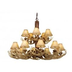 Vaxcel Lighting Noachian Stone Lodge 15 Light Two Tier Chandelier with Fabric Shades - 39 Inches Wide Rustic Lamps, Rustic Chandelier, Rustic Lighting, Chandelier Pendant Lights, Chandeliers, Island Pendant Lights, Lighting Store, Fabric Shades, Ceiling Lights