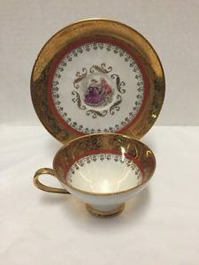 Plankenhammer-Cup-Saucer-Floss-Bavaria-Gold-West-Germany-Woman-Man-Courting
