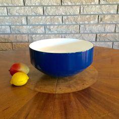 XL Copco Michael Lax Blue Enamel Steel Bowl Modern Minimalist 12 Inch Salad   Dough Bowl