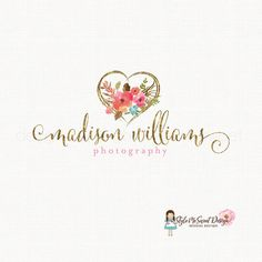 gold foil heart logo watercolor flower logo by stylemesweetdesign