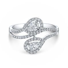 Forevermark Two Stone Pear Shape Diamond Ring ($4,260) ❤ liked on Polyvore featuring jewelry, rings, bear ring, diamond jewelry, diamond rings, diamond band ring and band jewelry