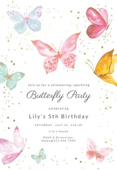 Magical butterflies – Baby Shower Invitation Template (Free - Everythink for Babyshower Butterfly Invitations, Free Birthday Invitations, Wedding Party Invites, Christening Invitations, Baby Shower Invitation Templates, Birthday Template, Butterfly Birthday Party, Butterfly Baby Shower, Birthday Party Themes