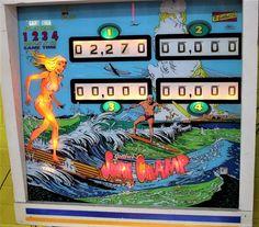 Surf Champ #pinball Backglass. https://www.pinterest.com/vicstathopoulos/pinball/ #pinballmachine #arcade #game #surfing #beach #waves #blue #sky